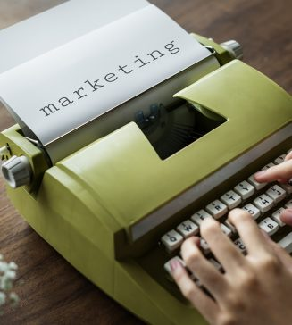 "Typewriter featuring the word, ""marketing""."