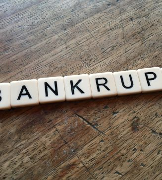 """Letters spelling out """"bankruptcy""""."""