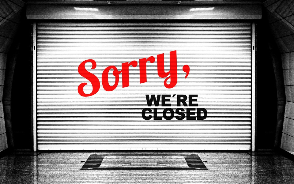 """The words, """"Sorry, we're closed."""""""