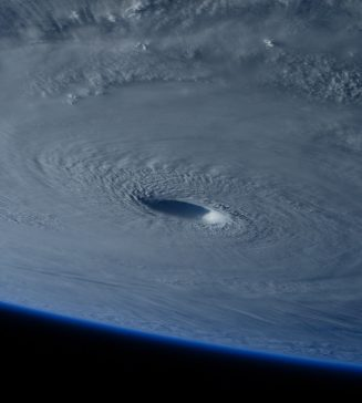 A picture of a hurricane from space.
