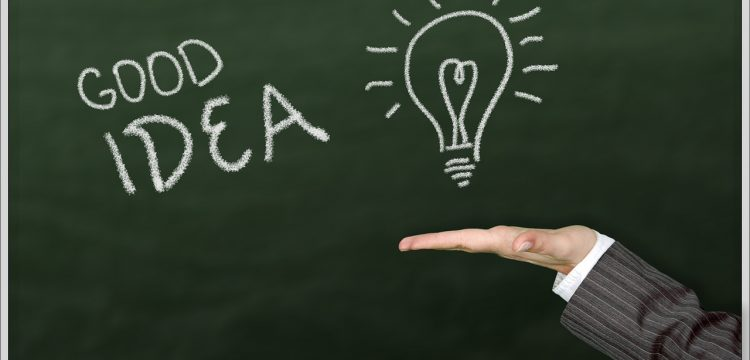 """The words, """"Good Idea"""" written on a chalkboard with a drawing of a lightbulb."""