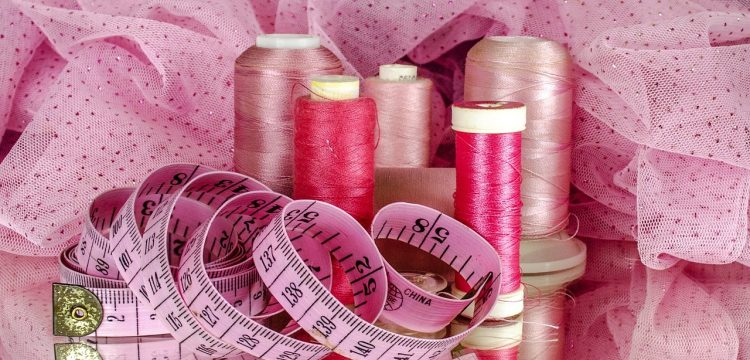 Pink material and pink threads.