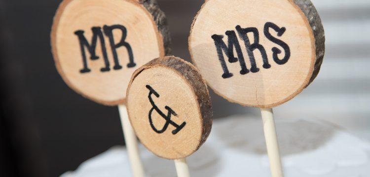 Mr. and Mrs. written on small logs.