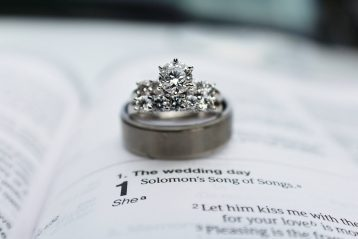 A wedding ring sitting on top of a Bible.
