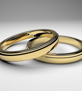 Two gold wedding bands.