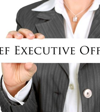 "Person holding a sign that reads, ""Chief Executive Officer""."
