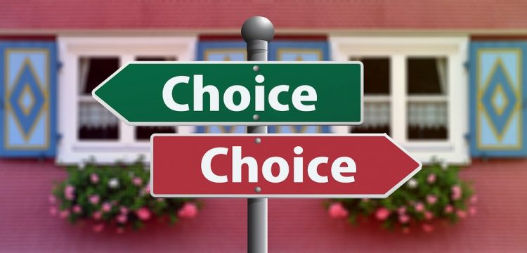 """Two signs pointing in different directions that both read, """"choice""""."""