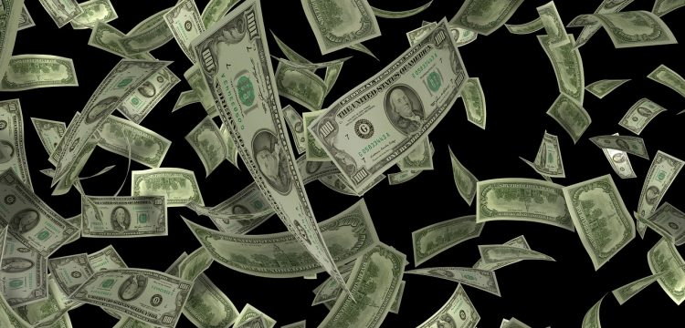 Money falling down.