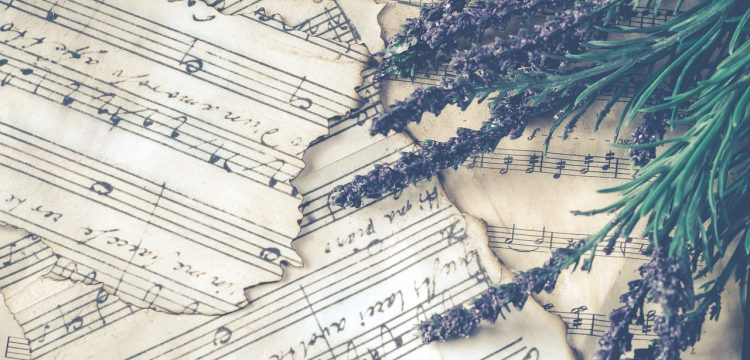 Sheet music with pieces of lavender.