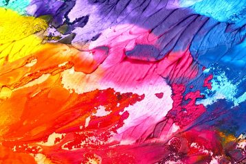 A multi-colored abstract painting.