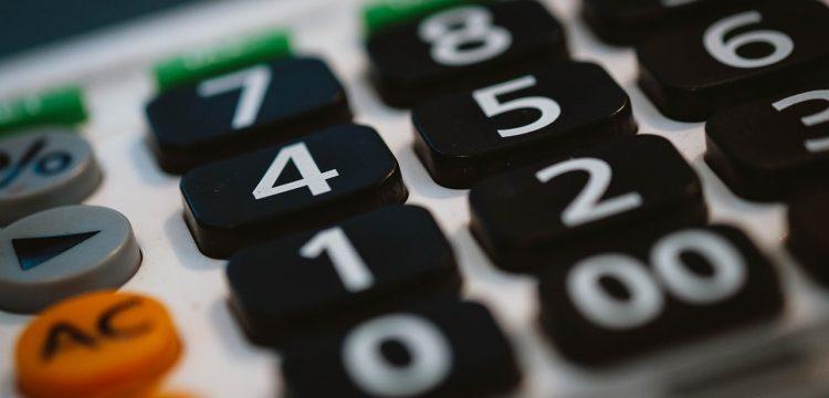 Close up of a calculator.