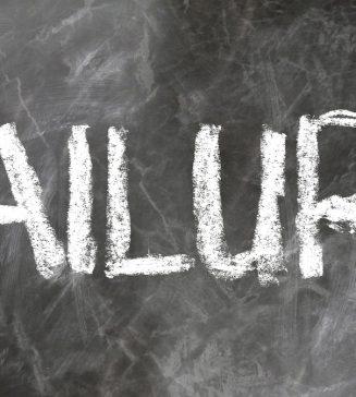 """""""Failure"""" written on a chalkboard."""