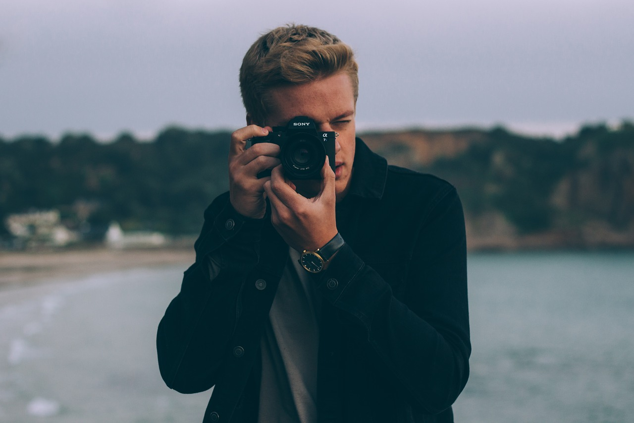 A man taking a picture.