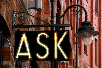 "A sign that reads, ""Ask""."