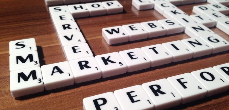 Scrabble letters spelling out words such as marketing, shop, website, etc.