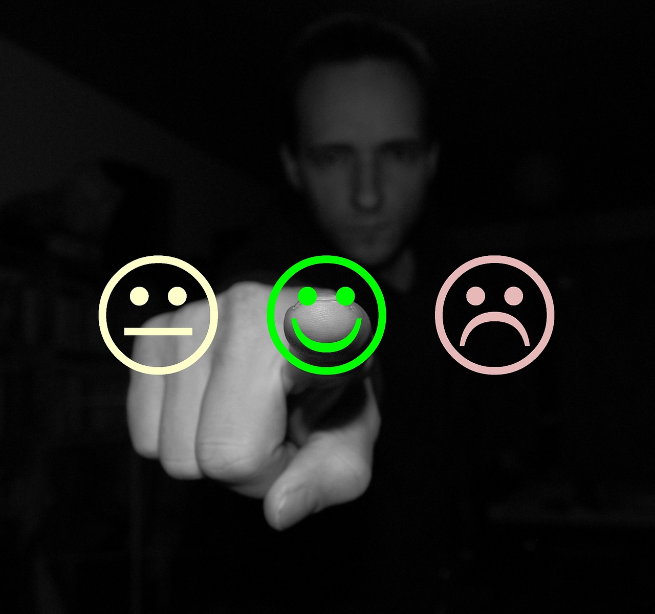 "Three ""smiley"" faces that represent satisfaction or dissatisfaction."