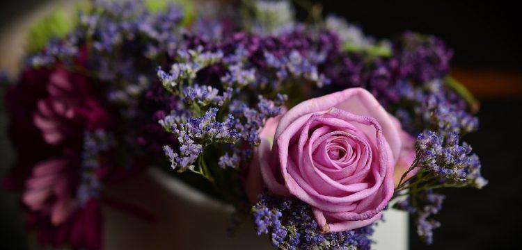 Pink and purple floral arrangement.
