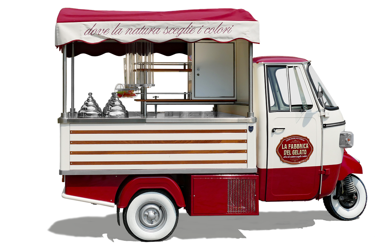Red and white ice cream truck.