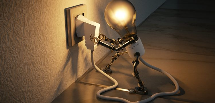 Graphic of a lit light bulb plugging its cord into an outlet.