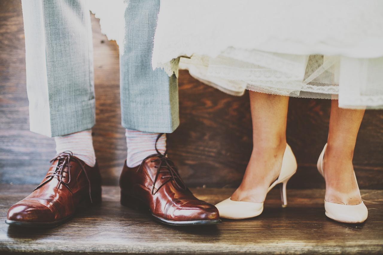 Retro bride and groom's shoes.