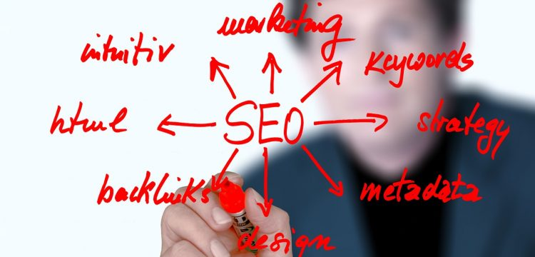 """An SEO graphic with related key words written beside it such as """"backlink""""."""