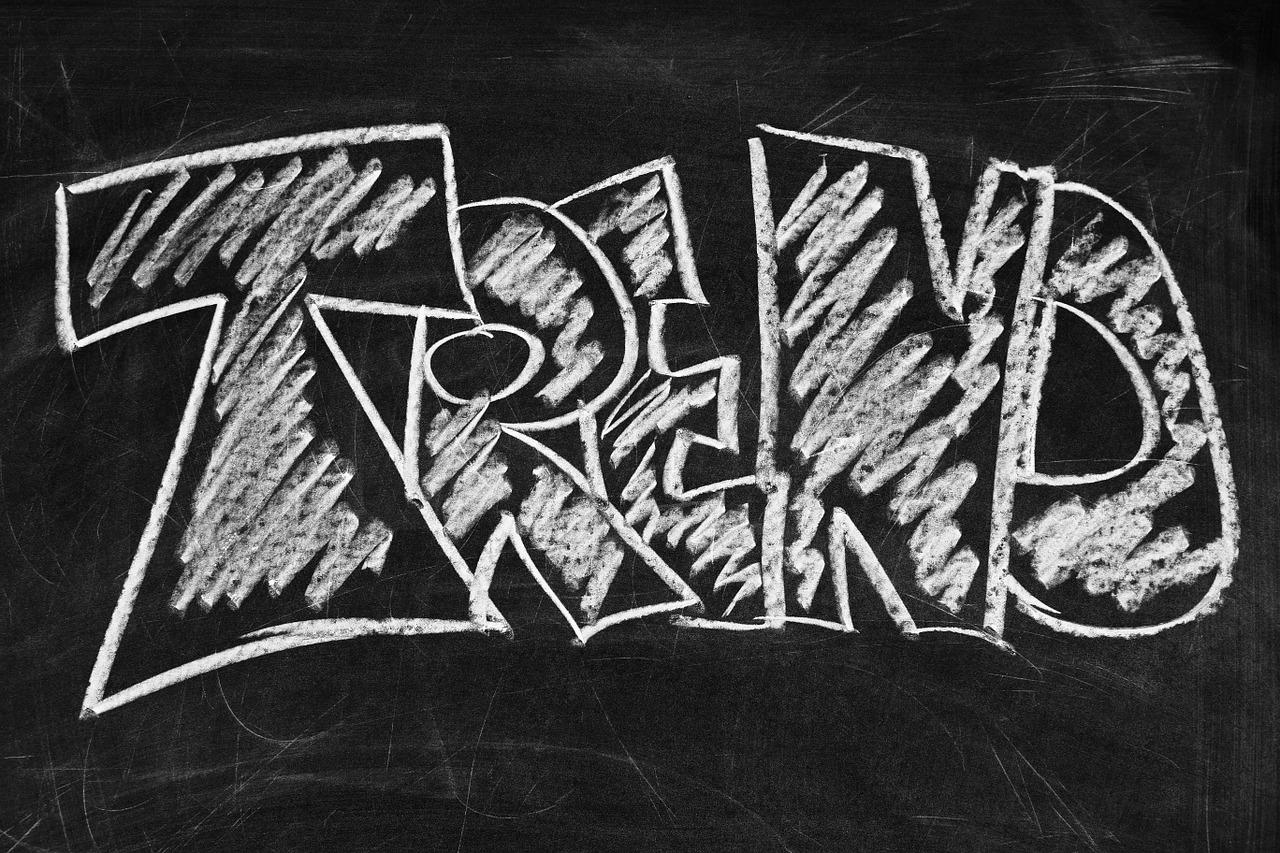 """The word """"trend"""" written on a chalkboard."""
