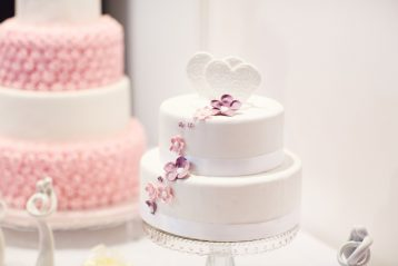 Two wedding cakes.