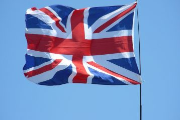 The flag of Great Britain, blowing in the wind.