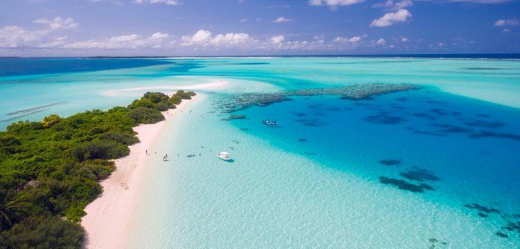 A beautiful white sand beach on a tropical island.