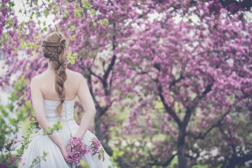 A bride walking through a grove of purple colored trees.