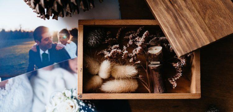 Wedding photos sitting on a table.
