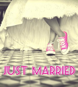 Picture of bride and groom wearing sneakers.