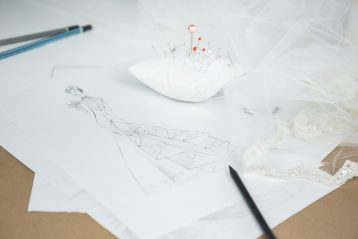 Sketches by a fashion designer.