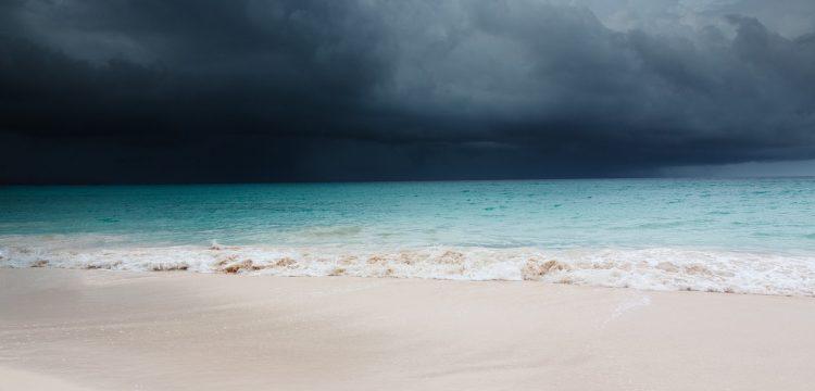 Hurricane approaching a beach.