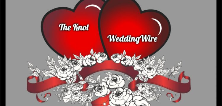 Two hearts; one with The Knot on it, the other with WeddingWire on it.