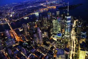An aerial shot of New York City in the evening.