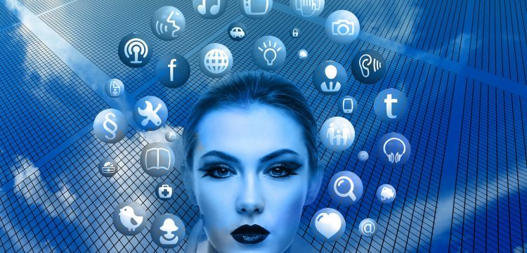 A surreal blue-tinted photo of a woman with various social media icons surrounding her head.