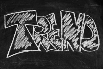"The word ""trend"" written on a chalkboard."