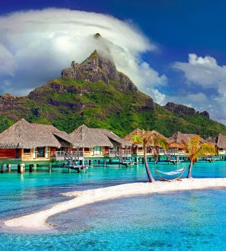 Huts over the water in Bora Bora.