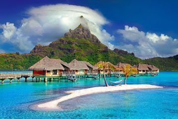 Huts over the water in Bora Bora.
