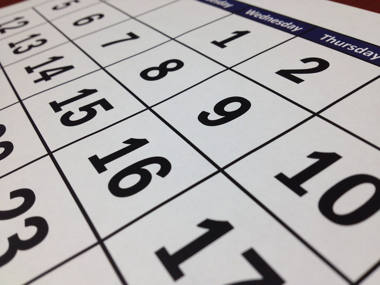 Close up of numbers on a calendar.