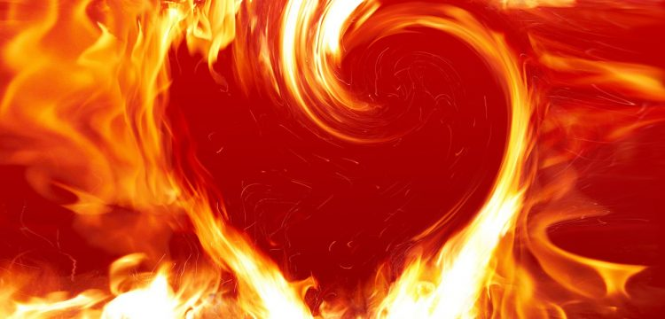 Flames in the shape of a heart.