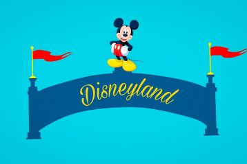 "Mickey Mouse atop a banner that reads, ""Disneyland""."