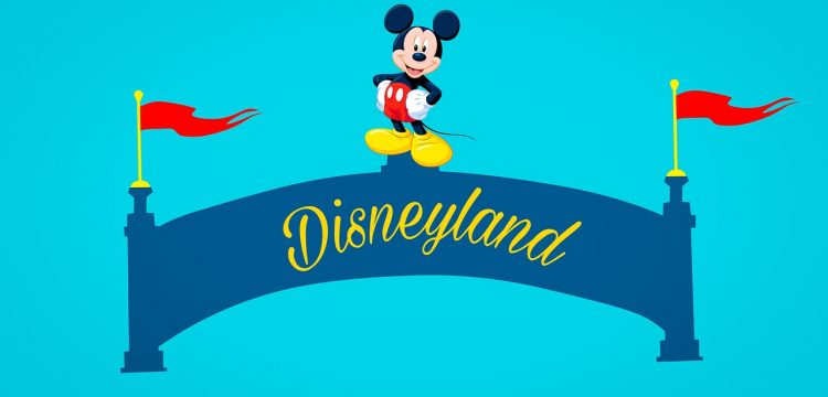 """Mickey Mouse atop a banner that reads, """"Disneyland""""."""