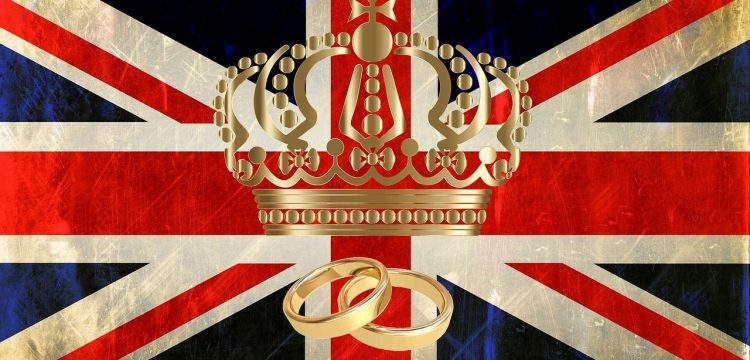 British flag with a crown and two wedding bands.