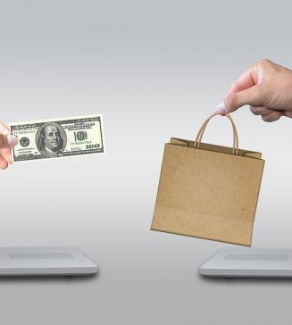 Graphic of one hand with a dollar bill and one hand with a shopping bag, reaching toward one another.