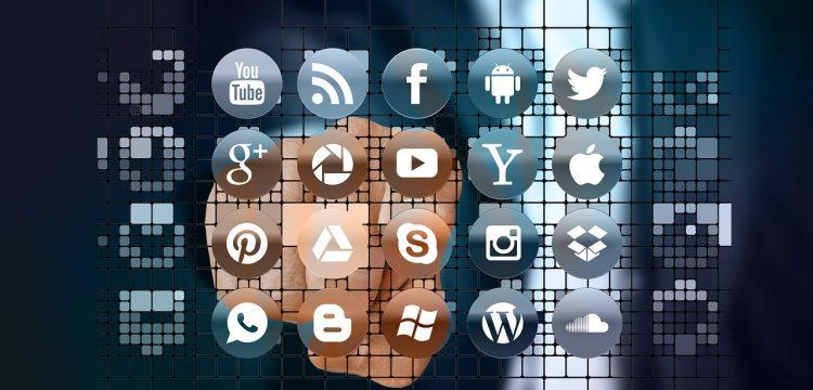 Various social media icons.