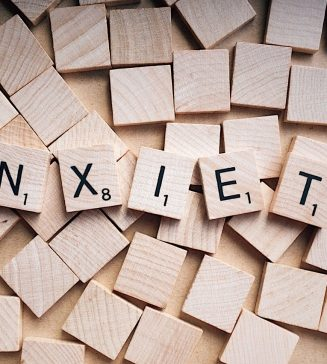 """The word, """"Anxiety"""" spelled out in Scrabble letters."""
