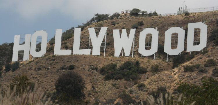 The Hollywood sign.