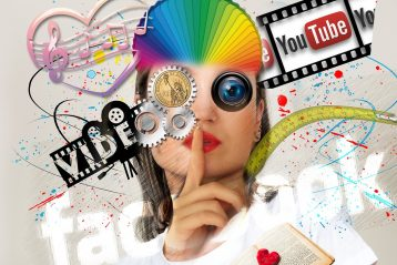 "Marketing graphic featuring YouTube, Facebook, and the word ""video""."